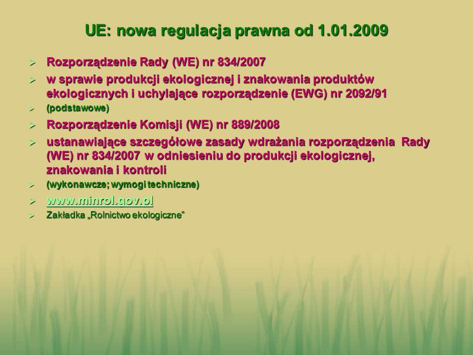UE: nowa regulacja prawna od 1.01.2009 Rozporządzenie Rady (WE) nr 834/2007 Rozporządzenie Rady (WE) nr 834/2007 w sprawie produkcji ekologicznej i zn