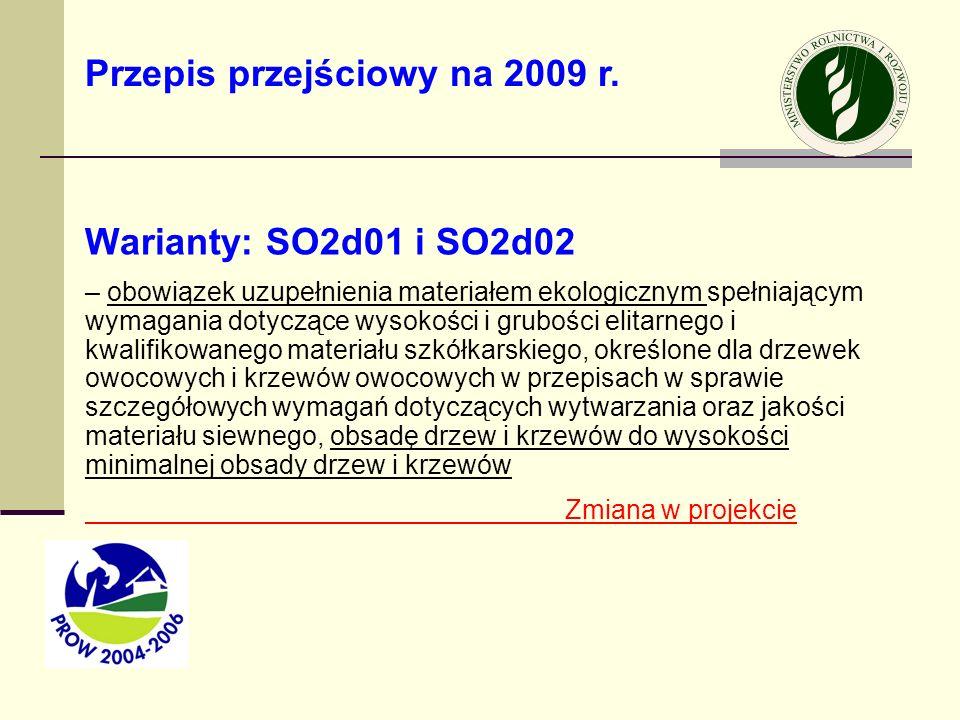 Warianty: SO2d01 i SO2d02 – obowiązek uzupełnienia materiałem ekologicznym spełniającym wymagania dotyczące wysokości i grubości elitarnego i kwalifik