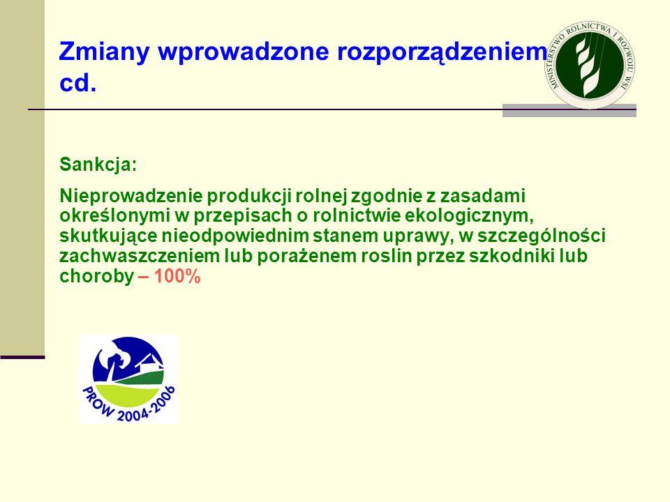 Sankcja: Nieprowadzenie produkcji rolnej zgodnie z zasadami określonymi w przepisach o rolnictwie ekologicznym, skutkujące nieodpowiednim stanem upraw