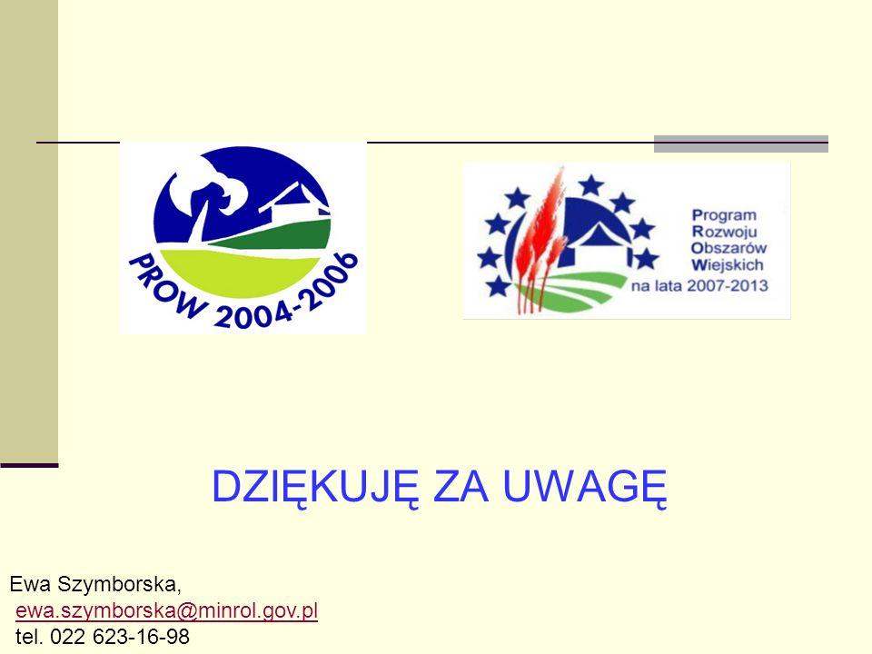 DZIĘKUJĘ ZA UWAGĘ Ewa Szymborska, ewa.szymborska@minrol.gov.pl tel. 022 623-16-98
