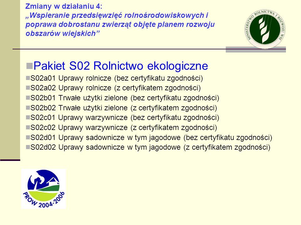 Pakiet S02 Rolnictwo ekologiczne S02a01 Uprawy rolnicze (bez certyfikatu zgodności) S02a02 Uprawy rolnicze (z certyfikatem zgodności) S02b01 Trwałe uż