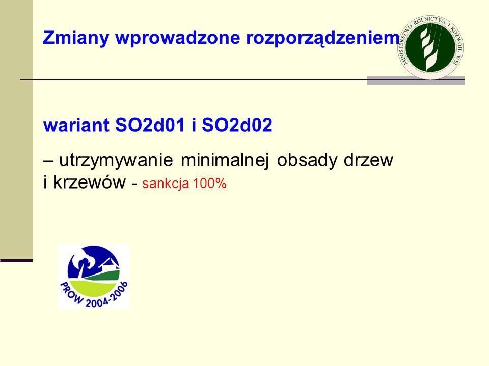 wariant SO2d01 i SO2d02 – utrzymywanie minimalnej obsady drzew i krzewów - sankcja 100% Zmiany wprowadzone rozporządzeniem