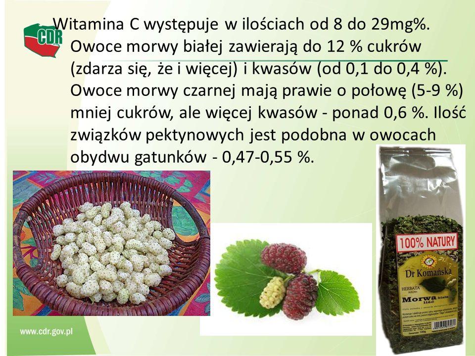 Witamina C występuje w ilościach od 8 do 29mg%. Owoce morwy białej zawierają do 12 % cukrów (zdarza się, że i więcej) i kwasów (od 0,1 do 0,4 %). Owoc