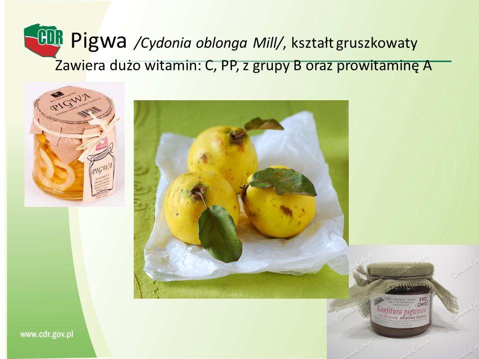 Pigwa /Cydonia oblonga Mill/, kształt gruszkowaty Zawiera dużo witamin: C, PP, z grupy B oraz prowitaminę A