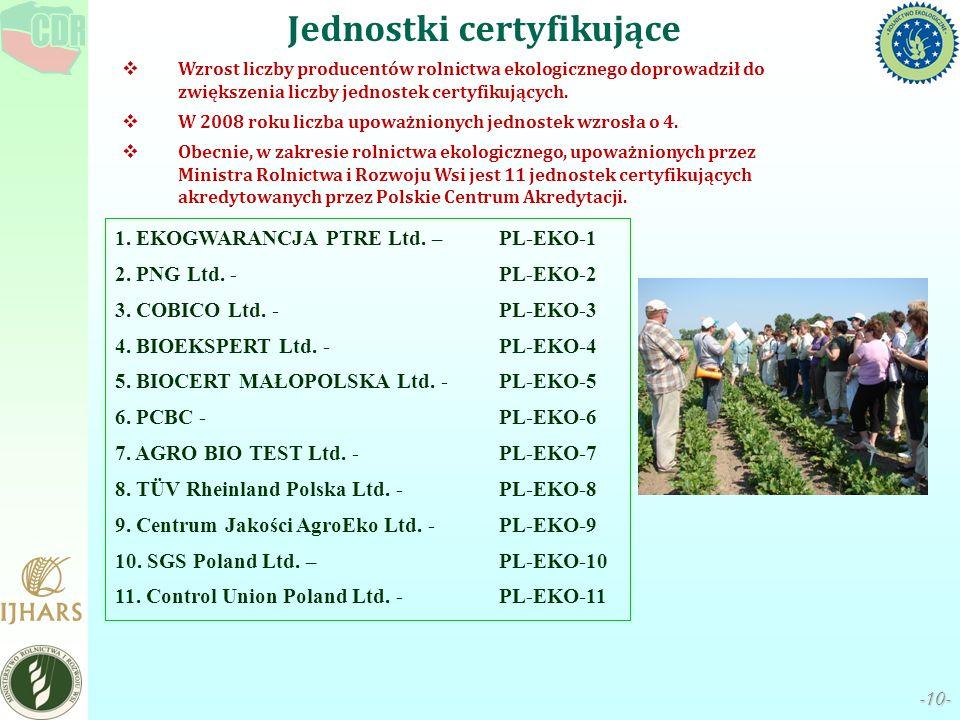 -10- Wzrost liczby producentów rolnictwa ekologicznego doprowadził do zwiększenia liczby jednostek certyfikujących. W 2008 roku liczba upoważnionych j