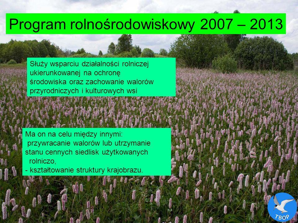 Ludwik Maksalon; Towarzystwo Badań i Ochrony Przyrody Program rolnośrodowiskowy 2007 – 2013 Służy wsparciu działalności rolniczej ukierunkowanej na oc