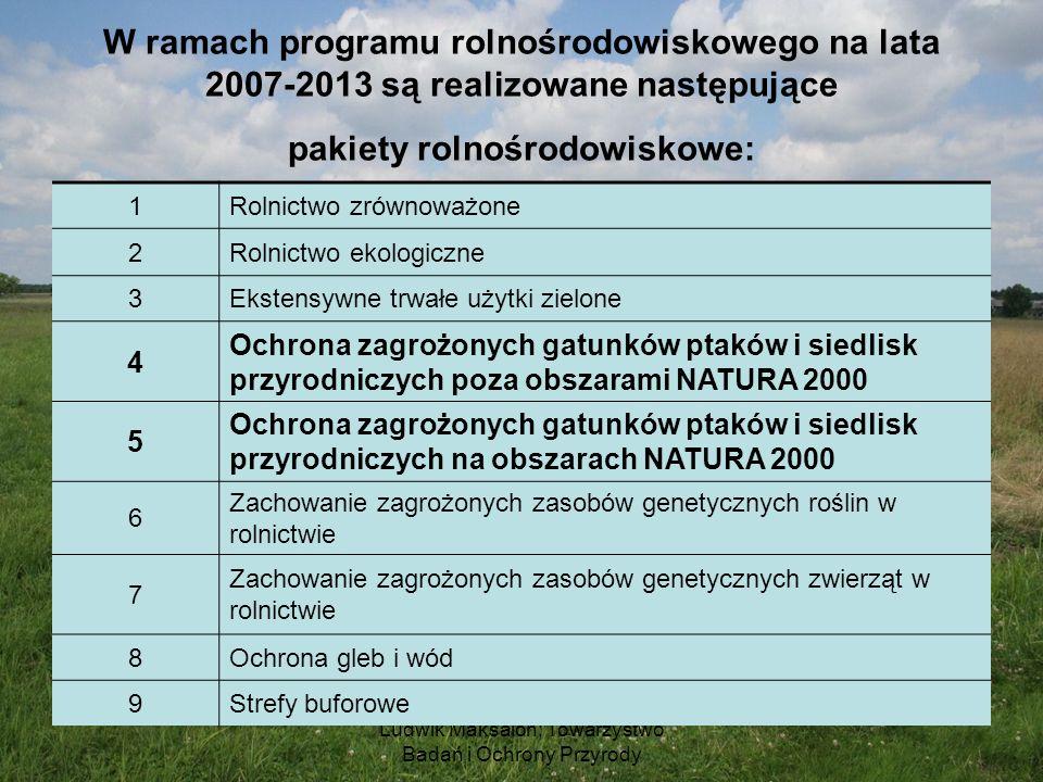 Ludwik Maksalon; Towarzystwo Badań i Ochrony Przyrody W ramach programu rolnośrodowiskowego na lata 2007-2013 są realizowane następujące pakiety rolno