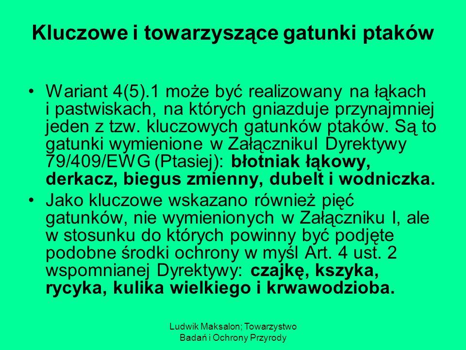 Ludwik Maksalon; Towarzystwo Badań i Ochrony Przyrody Kluczowe i towarzyszące gatunki ptaków Wariant 4(5).1 może być realizowany na łąkach i pastwiska