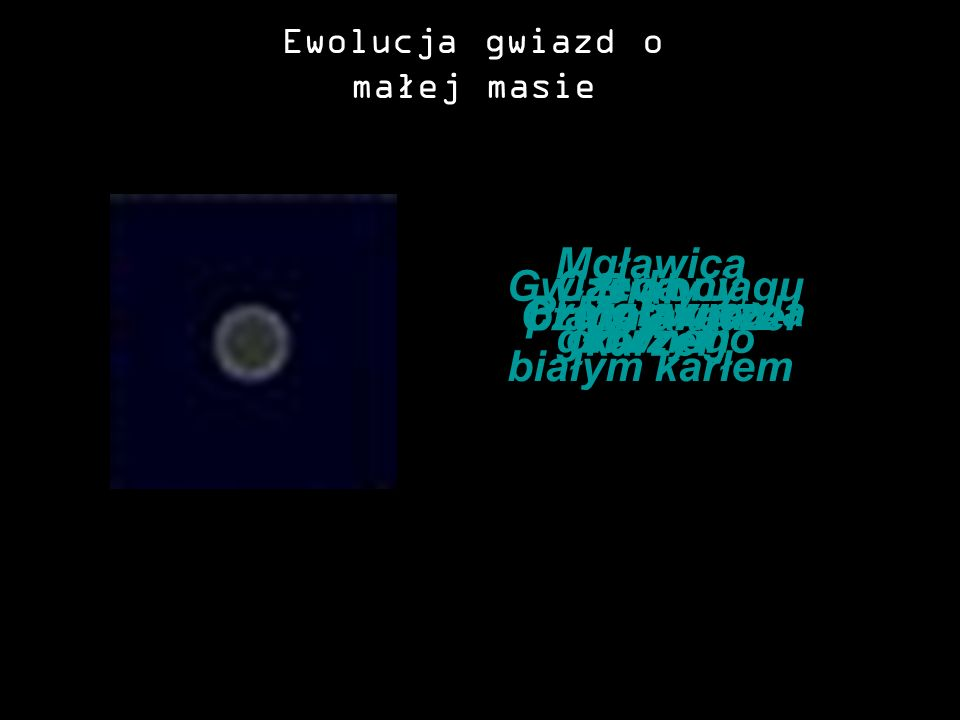 Ewolucja gwiazd o małej masie MgławicaProtogwiazda Gwiazda ciągu głównego Czewony olbrzym Mgławica planetarna z białym karłem Biały karzeł Czarny karz