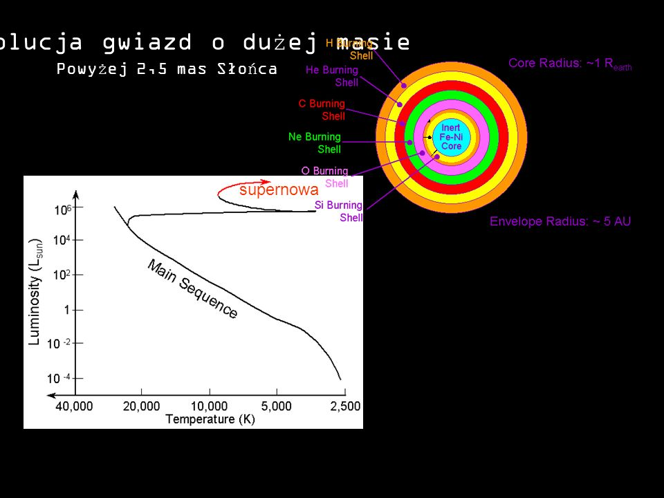 Ewolucja gwiazd o dużej masie supernowa Powyżej 2,5 mas Słońca