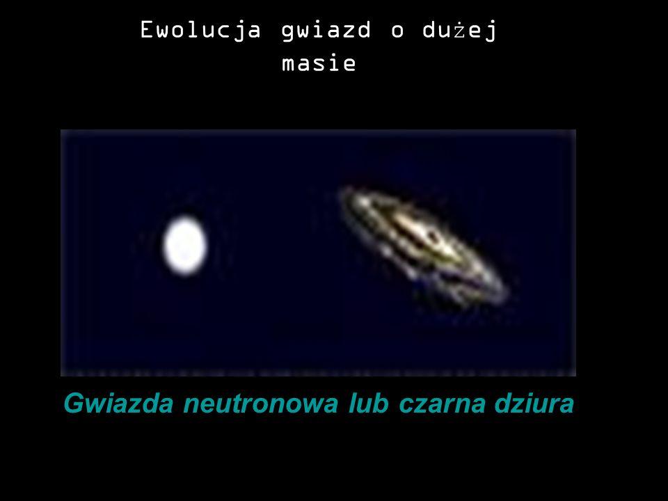 Ewolucja gwiazd o dużej masie MgławicaProtogwiazda Gwiazda ciągu głównego Nadolbrzym Gwiazda neutronowa lub czarna dziura Supernowa