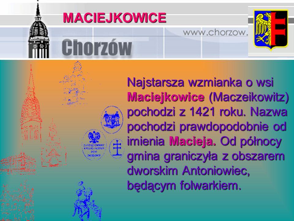 Najstarsza wzmianka o wsi Maciejkowice (Maczeikowitz) pochodzi z 1421 roku. Nazwa pochodzi prawdopodobnie od imienia Macieja. Od północy gmina granicz