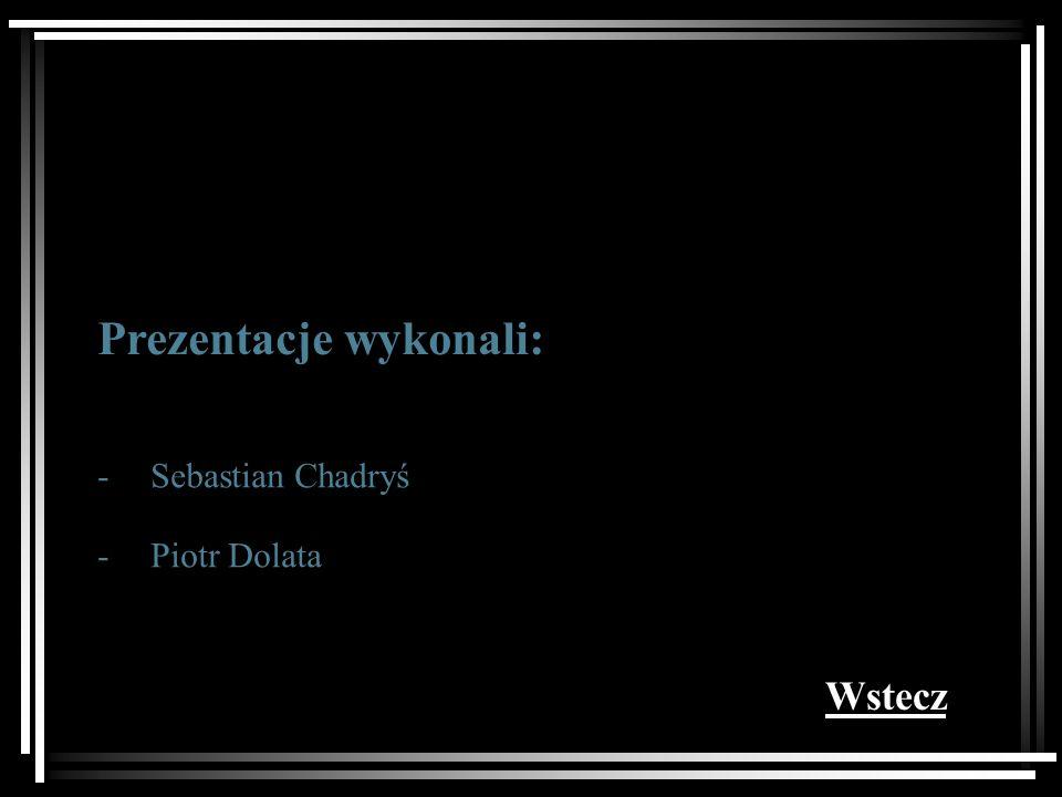 Prezentacje wykonali: - - Sebastian Chadryś Piotr Dolata Wstecz