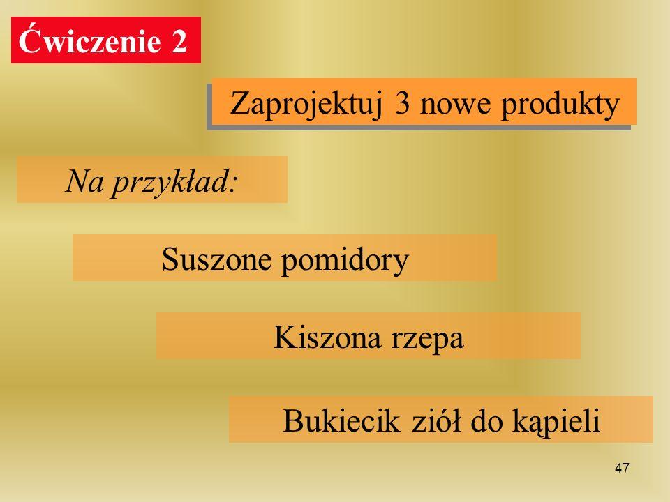 Ćwiczenie 2 Zaprojektuj 3 nowe produkty Na przykład: Suszone pomidory Kiszona rzepa Bukiecik ziół do kąpieli 47
