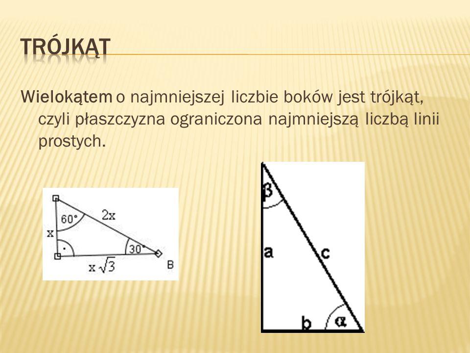 Wielokątem o najmniejszej liczbie boków jest trójkąt, czyli płaszczyzna ograniczona najmniejszą liczbą linii prostych.