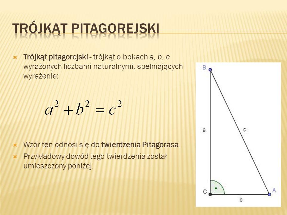 Trójkąt pitagorejski - trójkąt o bokach a, b, c wyrażonych liczbami naturalnymi, spełniających wyrażenie: Wzór ten odnosi się do twierdzenia Pitagoras