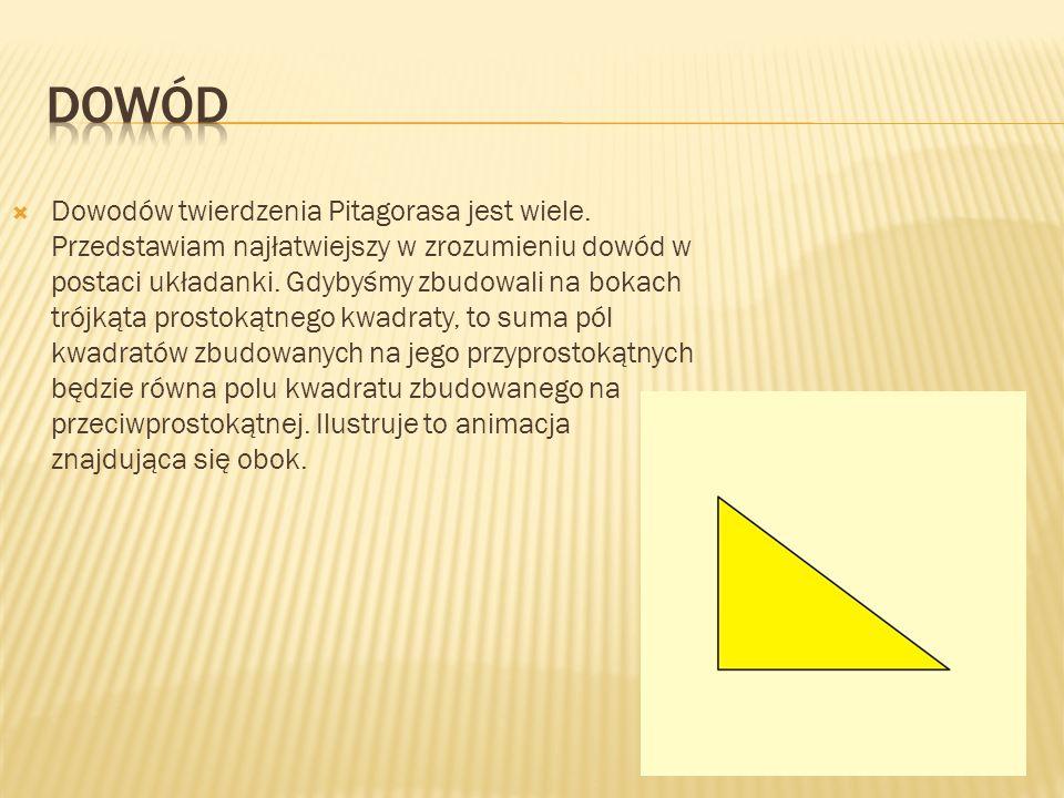 Dowodów twierdzenia Pitagorasa jest wiele. Przedstawiam najłatwiejszy w zrozumieniu dowód w postaci układanki. Gdybyśmy zbudowali na bokach trójkąta p
