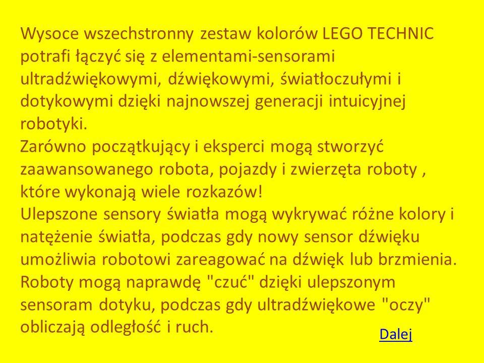 Wysoce wszechstronny zestaw kolorów LEGO TECHNIC potrafi łączyć się z elementami-sensorami ultradźwiękowymi, dźwiękowymi, światłoczułymi i dotykowymi