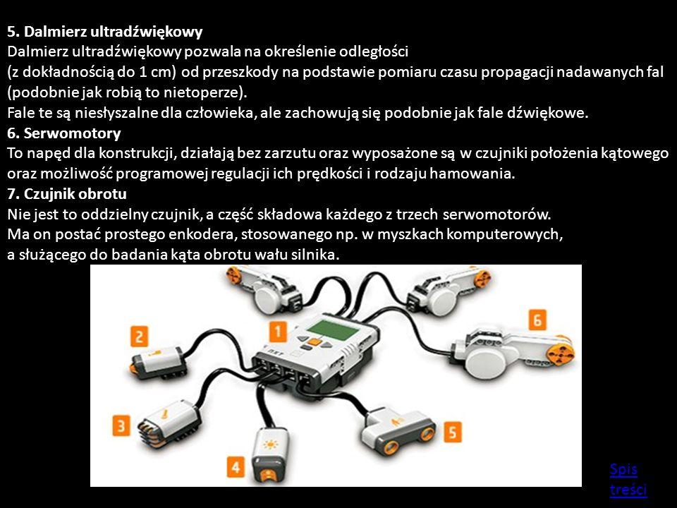 5. Dalmierz ultradźwiękowy Dalmierz ultradźwiękowy pozwala na określenie odległości (z dokładnością do 1 cm) od przeszkody na podstawie pomiaru czasu