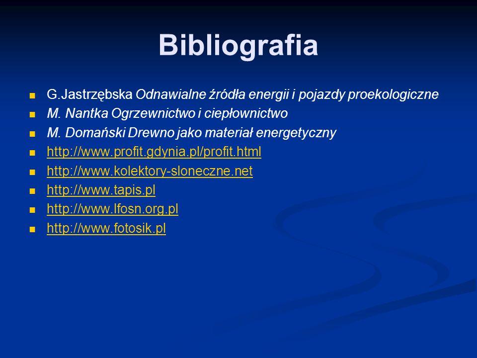 Bibliografia G.Jastrzębska Odnawialne źródła energii i pojazdy proekologiczne M.