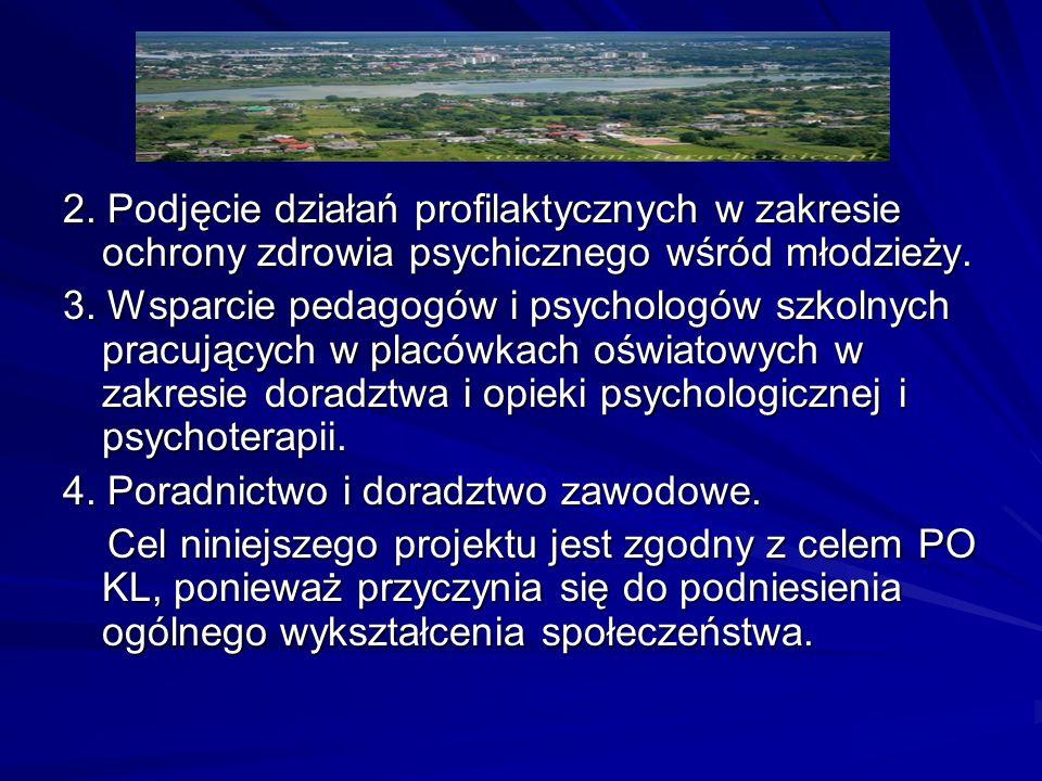 2. Podjęcie działań profilaktycznych w zakresie ochrony zdrowia psychicznego wśród młodzieży. 3. Wsparcie pedagogów i psychologów szkolnych pracującyc