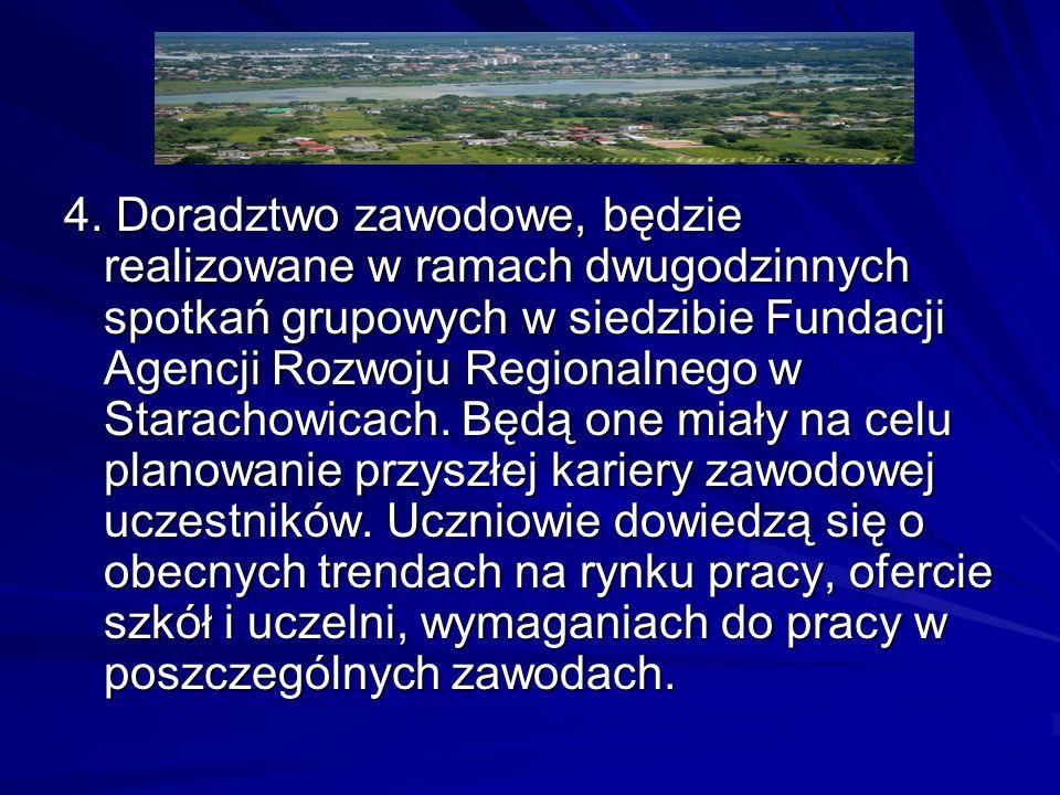 4. Doradztwo zawodowe, będzie realizowane w ramach dwugodzinnych spotkań grupowych w siedzibie Fundacji Agencji Rozwoju Regionalnego w Starachowicach.