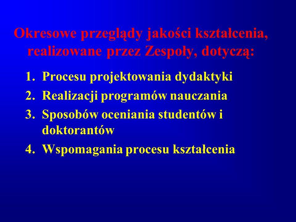 Okresowe przeglądy jakości kształcenia, realizowane przez Zespoły, dotyczą: 1.Procesu projektowania dydaktyki 2.Realizacji programów nauczania 3.Sposo
