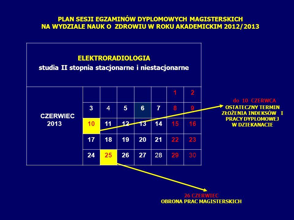 PLAN SESJI EGZAMINÓW DYPLOMOWYCH LICENCJACKICH NA WYDZIALE NAUK O ZDROWIU W ROKU AKADEMICKIM 2012/2013 do 4 CZERWCA OSTATECZNY TERMIN ZŁOŻENIA INDEKSÓW W DZIEKANACIE 14 CZERWIEC EGZAMIN TEORETYCZNY 18-21 CZERWIEC EGZAMIN PRAKTYCZNY ELEKTRORADIOLOGIA studia I stopnia stacjonarne CZERWIEC 2012 12 3456789 10111213141516 17181920212223 24252627282930