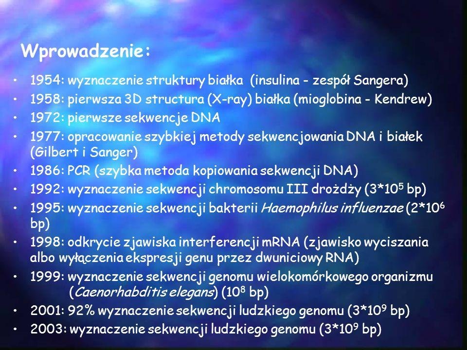 Wprowadzenie: 1954: wyznaczenie struktury białka (insulina - zespół Sangera) 1958: pierwsza 3D structura (X-ray) białka (mioglobina - Kendrew) 1972: p