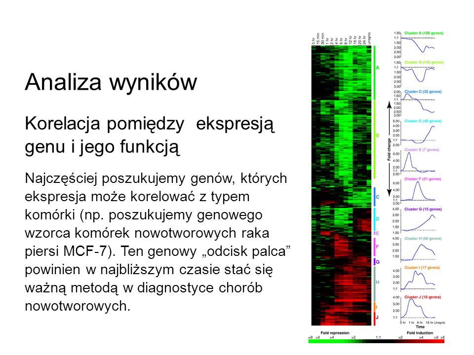 Analiza wyników Korelacja pomiędzy ekspresją genu i jego funkcją Najczęściej poszukujemy genów, których ekspresja może korelować z typem komórki (np.