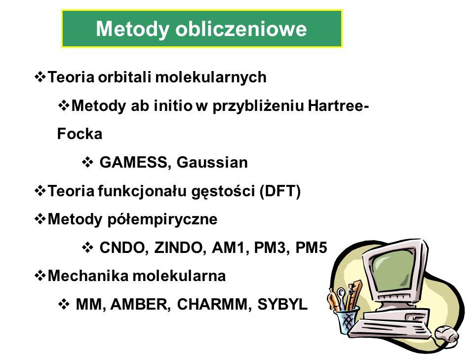 Teoria orbitali molekularnych Metody ab initio w przybliżeniu Hartree- Focka GAMESS, Gaussian Teoria funkcjonału gęstości (DFT) Metody półempiryczne C