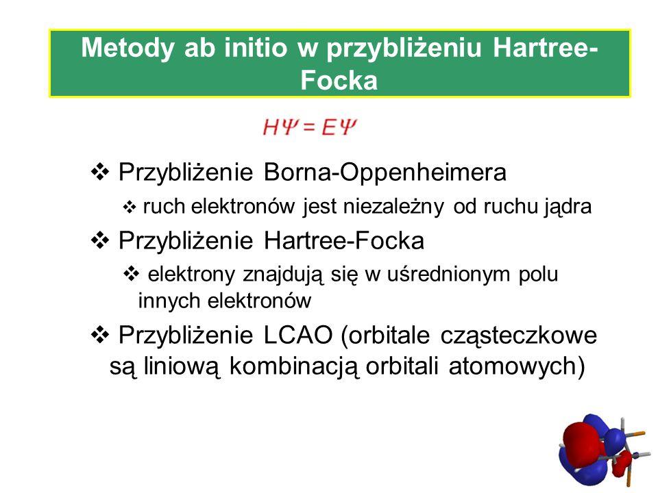 Przybliżenie Borna-Oppenheimera ruch elektronów jest niezależny od ruchu jądra Przybliżenie Hartree-Focka elektrony znajdują się w uśrednionym polu in