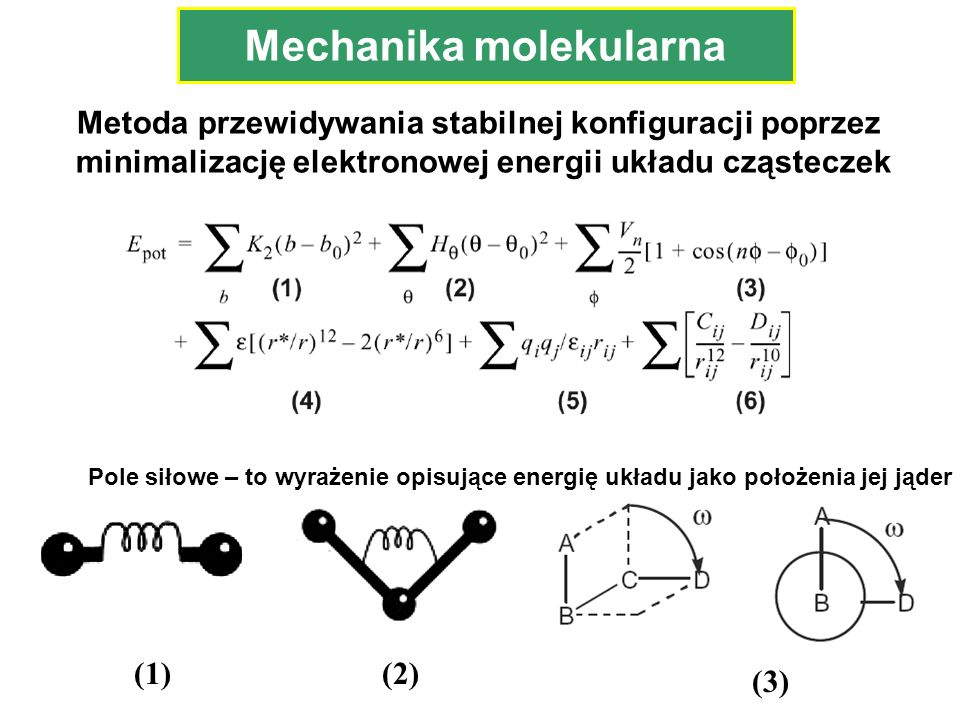 Mechanika molekularna (1)(2) (3) Metoda przewidywania stabilnej konfiguracji poprzez minimalizację elektronowej energii układu cząsteczek Pole siłowe