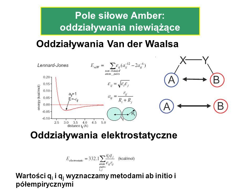 Pole siłowe Amber: oddziaływania niewiążące Oddziaływania Van der Waalsa Oddziaływania elektrostatyczne Wartości q i i q j wyznaczamy metodami ab init