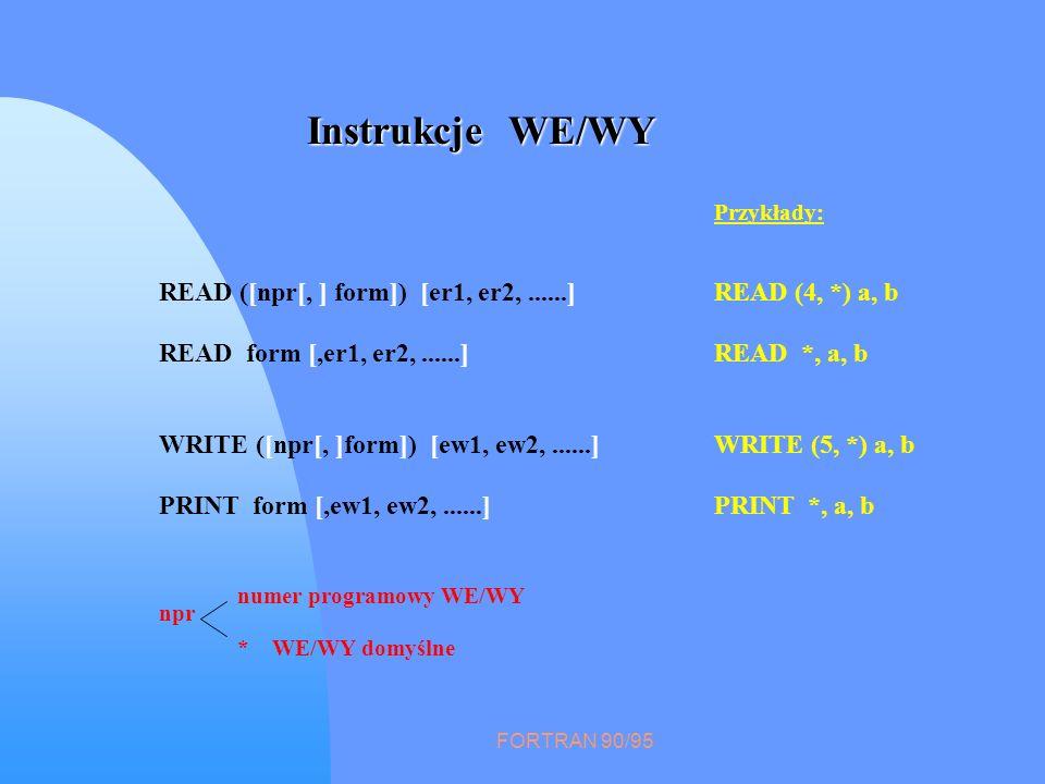 FORTRAN 90/95 Instrukcje WE/WY npr * WE/WY domyślne numer programowy WE/WY Przykłady: READ ([npr[, ] form]) [er1, er2,......]READ (4, *) a, b READ for