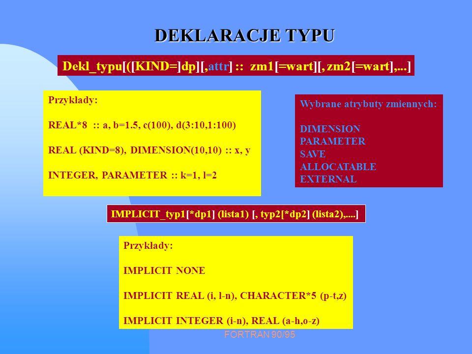 FORTRAN 90/95 DEKLARACJE TYPU Przykłady: REAL*8 :: a, b=1.5, c(100), d(3:10,1:100) REAL (KIND=8), DIMENSION(10,10) :: x, y INTEGER, PARAMETER :: k=1,