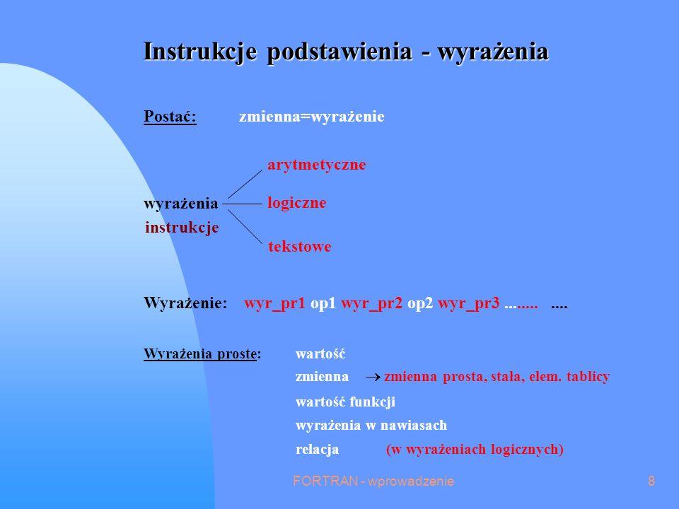 FORTRAN - wprowadzenie8 Instrukcje podstawienia - wyrażenia Postać: zmienna=wyrażenie wyrażenia arytmetyczne logiczne tekstowe instrukcje Wyrażenie: wyr_pr1 op1 wyr_pr2 op2 wyr_pr3............