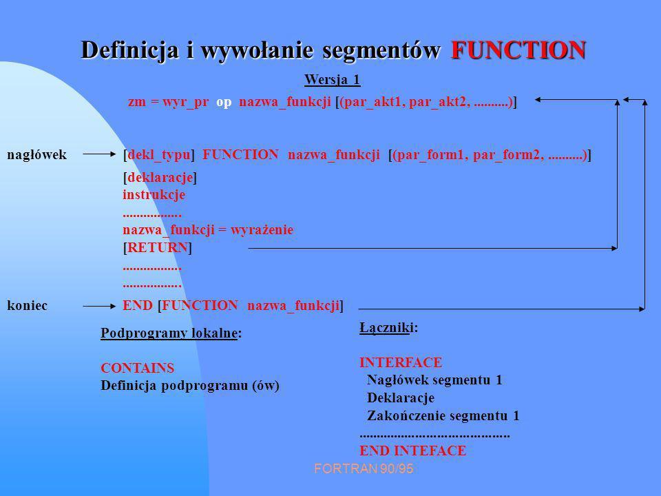 FORTRAN 90/95 Definicja i wywołanie segmentów FUNCTION [deklaracje] instrukcje................. nazwa_funkcji = wyrażenie [RETURN]................. [d