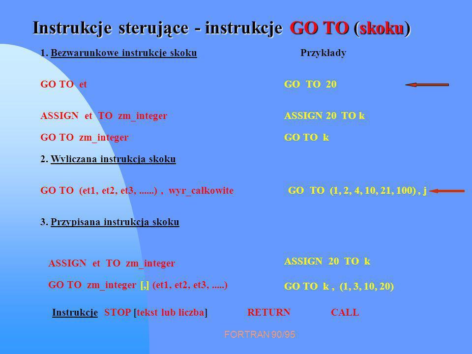 FORTRAN 90/95 Instrukcje sterujące - instrukcje GO TO (skoku) 2. Wyliczana instrukcja skoku GO TO (1, 2, 4, 10, 21, 100), j ASSIGN 20 TO k GO TO k, (1