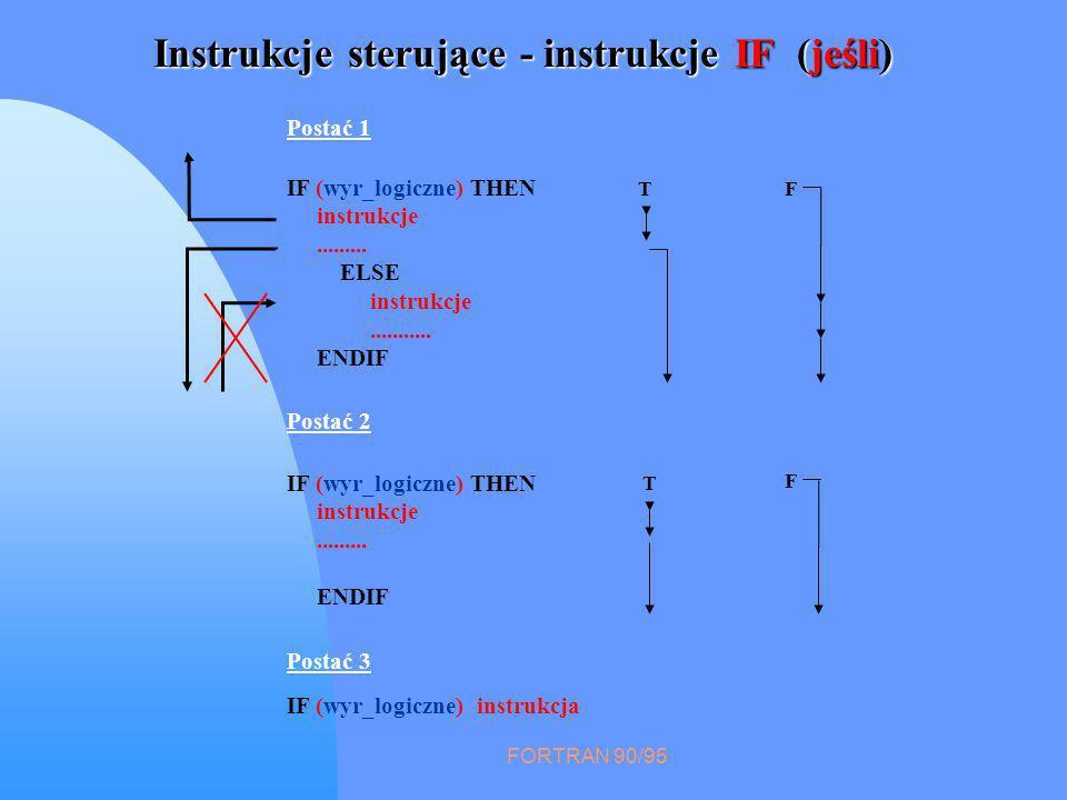 FORTRAN 90/95 Instrukcje sterujące - instrukcje IF (jeśli) Postać 1 IF (wyr_logiczne) THEN instrukcje.........