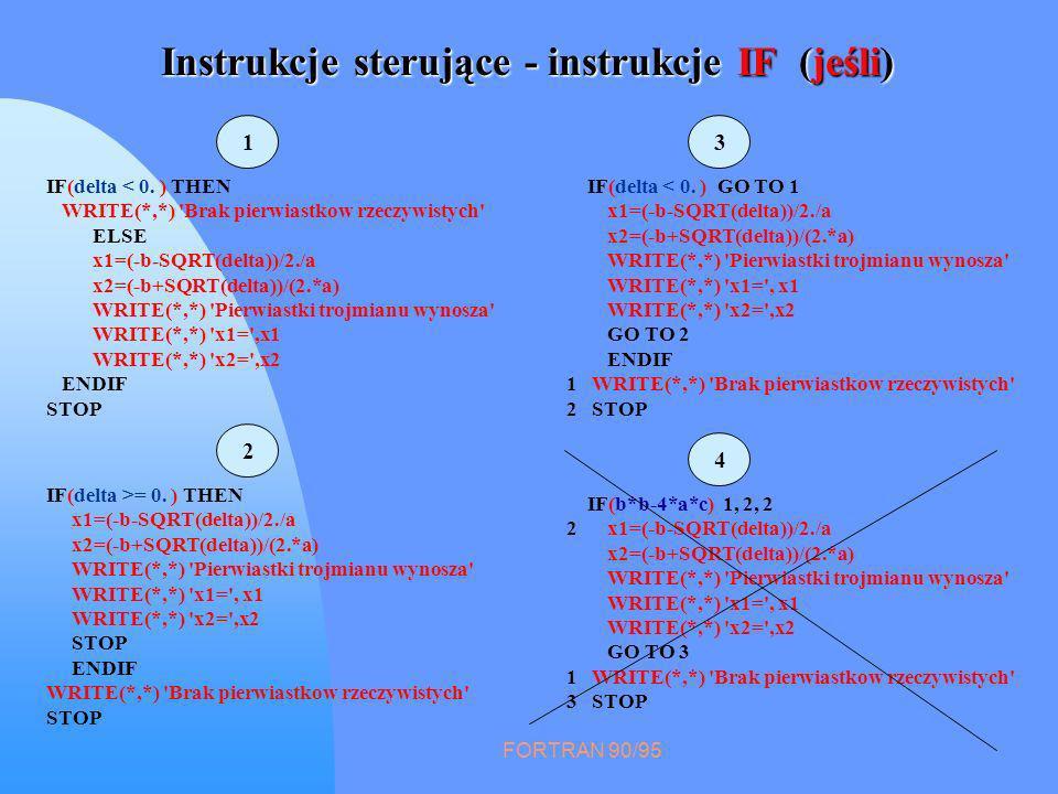 FORTRAN 90/95 Instrukcje sterujące - instrukcje IF (jeśli) IF(delta < 0. ) THEN WRITE(*,*) 'Brak pierwiastkow rzeczywistych' ELSE x1=(-b-SQRT(delta))/