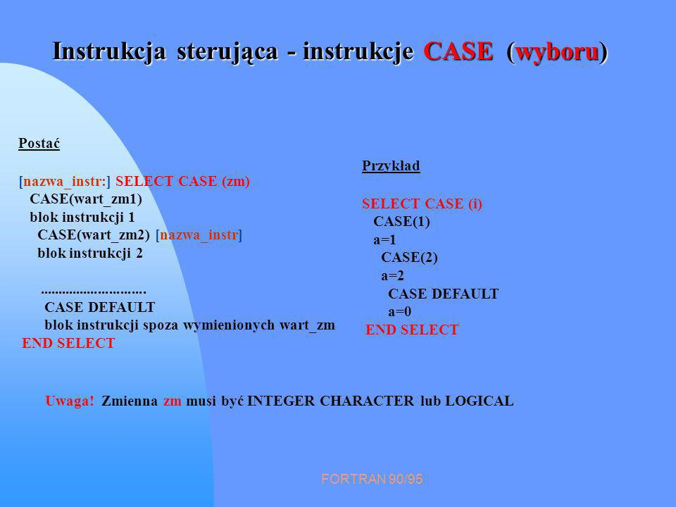 FORTRAN 90/95 Instrukcja sterująca - instrukcje CASE (wyboru) Postać [nazwa_instr:] SELECT CASE (zm) CASE(wart_zm1) blok instrukcji 1 CASE(wart_zm2) [nazwa_instr] blok instrukcji 2.............................