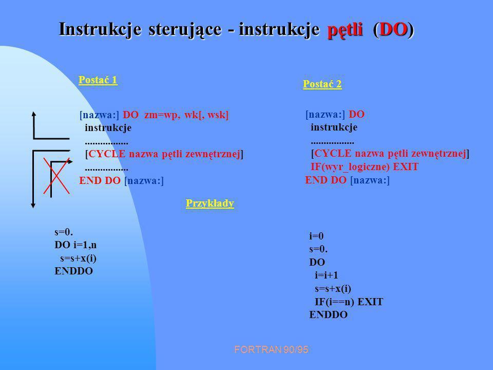 FORTRAN 90/95 Instrukcje sterujące - instrukcje pętli (DO) Postać 1 [nazwa:] DO zm=wp, wk[, wsk] instrukcje................. [CYCLE nazwa pętli zewnęt