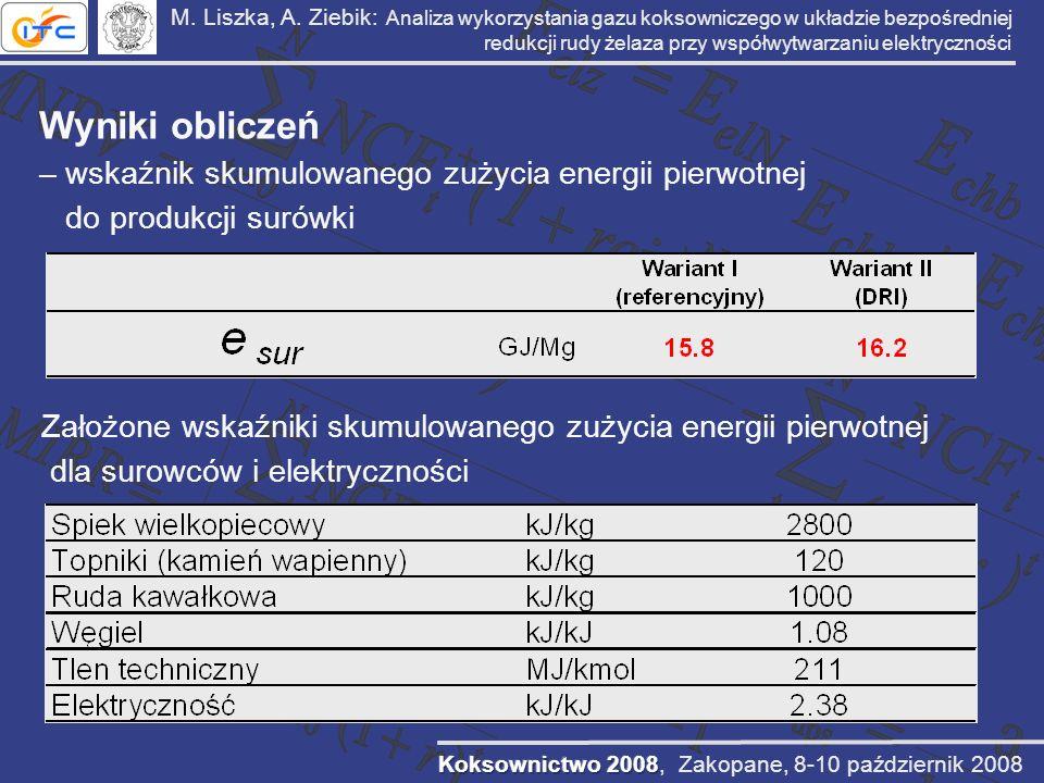 M. Liszka, A. Ziebik: Analiza wykorzystania gazu koksowniczego w układzie bezpośredniej redukcji rudy żelaza przy współwytwarzaniu elektryczności Wyni