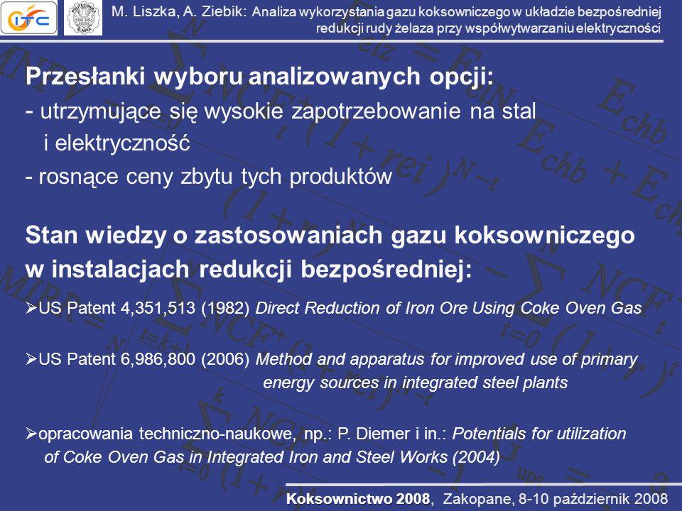 M. Liszka, A. Ziebik: Analiza wykorzystania gazu koksowniczego w układzie bezpośredniej redukcji rudy żelaza przy współwytwarzaniu elektryczności Prze
