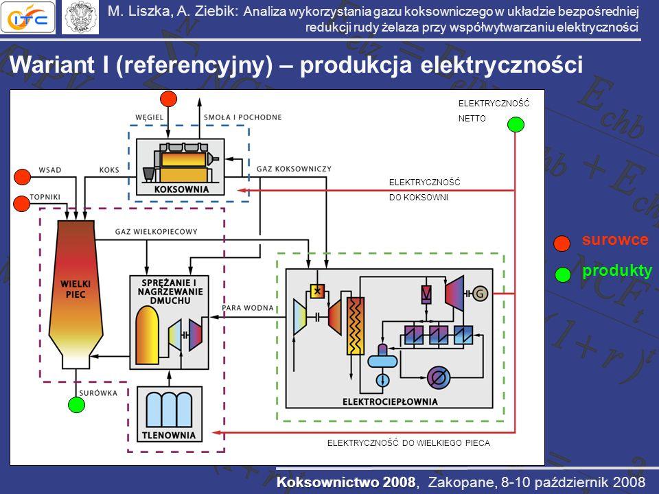 M. Liszka, A. Ziebik: Analiza wykorzystania gazu koksowniczego w układzie bezpośredniej redukcji rudy żelaza przy współwytwarzaniu elektryczności Wari