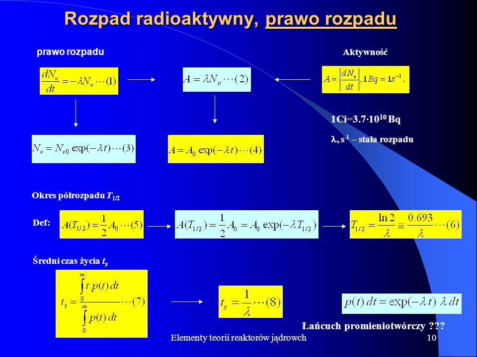 Elementy teorii reaktorów jądrowch10 Rozpad radioaktywny, prawo rozpadu prawo rozpadu Aktywność 1Ci=3.7·10 10 Bq, s -1 – stała rozpadu Okres półrozpad