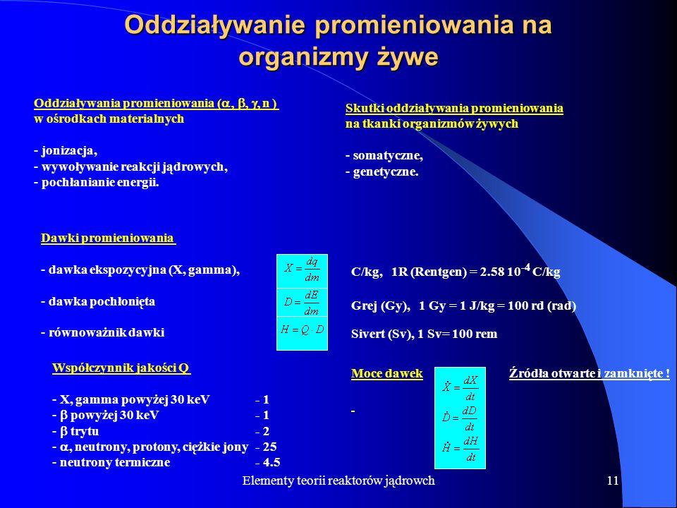 Elementy teorii reaktorów jądrowch11 Oddziaływanie promieniowania na organizmy żywe Oddziaływania promieniowania ( n ) w ośrodkach materialnych - joni