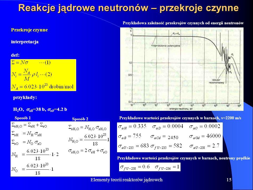 Elementy teorii reaktorów jądrowch15 Reakcje jądrowe neutronów – przekroje czynne Przekroje czynne interpretacja def: przykłady: H 2 O, sH =38 b, sO =