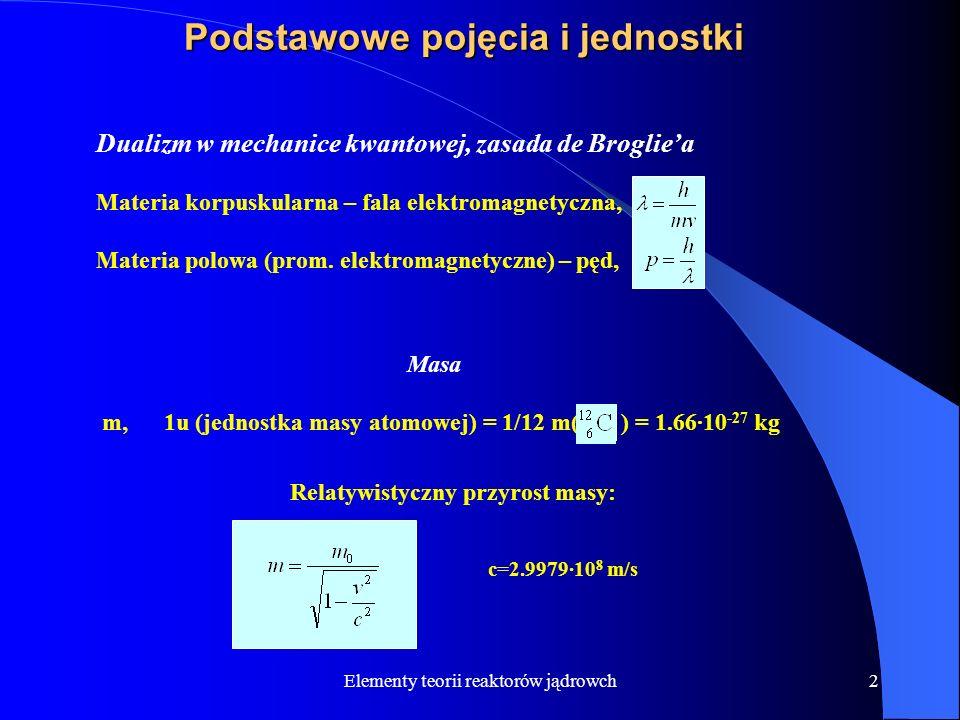 Elementy teorii reaktorów jądrowch2 Podstawowe pojęcia i jednostki Dualizm w mechanice kwantowej, zasada de Brogliea Materia korpuskularna – fala elek
